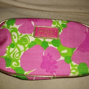 New Lilly Pulitzer Floral Pink Makeup Bag Cosmetic